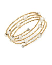 Alor | Metallic Classique 1.6mm White Round Freshwater Pearl, 18k Yellow Gold & Stainless Steel Bracelet | Lyst