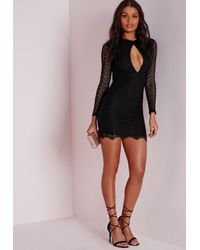 Missguided | Keyhole Lace Bodycon Dress Black | Lyst