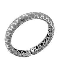 John Hardy | Metallic Naga Silver Enamel Slim Flex Cuff With Gray Enamel | Lyst