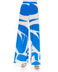 Alice + Olivia - Blue Printed Super-flare Wide-leg Pants - Lyst