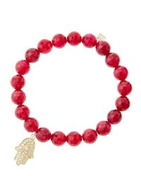 Sydney Evan | 8Mm Faceted Red Agate Beaded Bracelet With 14K White Gold/Diamond Medium Hamsa Charm (Made To Order) | Lyst