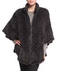 Belle Fare | Brown Chevron-Knit Mink-Fur Cape | Lyst