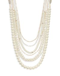 Sequin - Metallic Faux Pearl & Chain Strand Necklace - Lyst