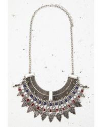 Forever 21 - Blue Beaded Filigree Statement Necklace - Lyst