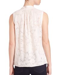 Rebecca Taylor | Natural Lace Sleeveless Top | Lyst