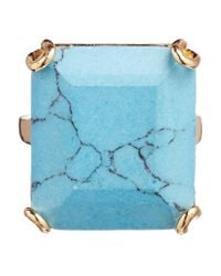 Orelia - Blue Large Square Stone Ring - Lyst