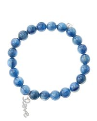 Sydney Evan - Blue 8mm Kyanite Beaded Bracelet with 14k White Golddiamond Love Charm Made To Order - Lyst