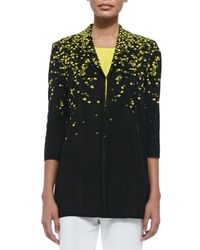 Misook - Black 3/4-Sleeve Speckled Long Jacket - Lyst