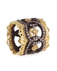 Armenta | Metallic Midnight & 18k Yellow Gold Open Scalloped Crivelli Ring With Diamonds | Lyst