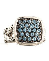 John Hardy - Metallic Classic Chain Small Cushion Woven Ring Blue Topaz for Men - Lyst