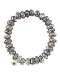 Sydney Evan | Metallic 10Mm Mystic Labradorite Beaded Bracelet With 14K Yellow Gold/Diamond Small Evil Eye Charm (Made To Order) | Lyst