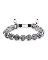 Nialaya | Metallic Silver Beaded Bracelet for Men | Lyst