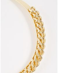 Pieces - Metallic Efola Chain Choker Necklace - Lyst