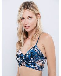 Free People | Blue Floral Patterned Bralette | Lyst