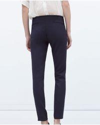Zara | Blue Skinny Trousers With Zips | Lyst