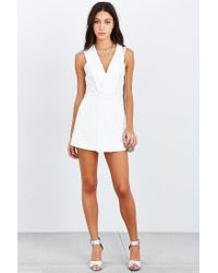 Silence + Noise | White Deep-v Skirted Romper | Lyst