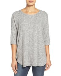 Bobeau | Gray Cozy Drop Shoulder Pullover | Lyst