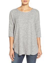Bobeau - Gray Cozy Drop Shoulder Pullover - Lyst