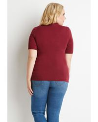 Forever 21 | Purple Plus Size Slouchy Mock Neck Tee | Lyst