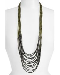 Tasha | Green Beaded Multi-cord Long Necklace - Olive/ Hematite | Lyst