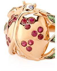 Aurelie Bidermann - Red Diamond, Ruby, Sapphire & Tsavorite Gold Ring - Lyst