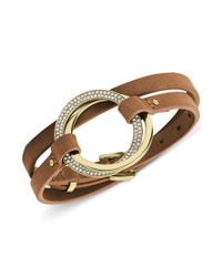 Michael Kors | Metallic Goldtone Pavè Twisted Ring Double Wrap Leather Bracelet | Lyst