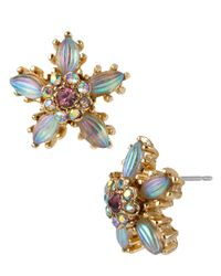 Betsey Johnson | Metallic Carved Flower Stud Earrings | Lyst