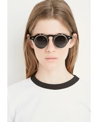 Forever 21 - Black Flip-up Round Sunglasses - Lyst