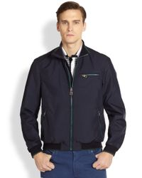 Ferragamo | Blue Zipfront Blouson Jacket for Men | Lyst
