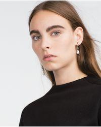 Zara | Metallic Crystal And Pearl Earrings | Lyst