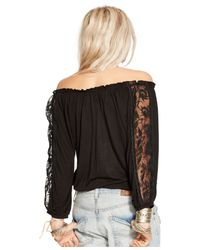 Denim & Supply Ralph Lauren | Black Lace-trim Peasant Top | Lyst