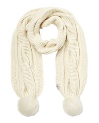 UGG - Multicolor Wool Blend Scarf With Sheepskin Pom-poms - Lyst