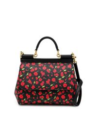 Dolce & Gabbana | Black Sicily Medium Floral Textured Leather Top-handle Satchel | Lyst