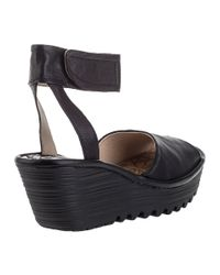 Fly London - Yula Wedge Sandal Black Leather - Lyst
