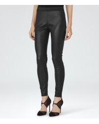 Reiss | Black Carrie Leather Leggings | Lyst