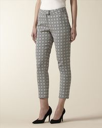 Jaeger - Black Jacquard Diamond Trousers - Lyst
