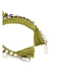 Joomi Lim | Green Cotton Braid Crystal Bracelet | Lyst