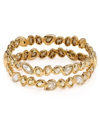 Alexis Bittar | Metallic Moonlight Golden Stacked Crystal Bracelet | Lyst