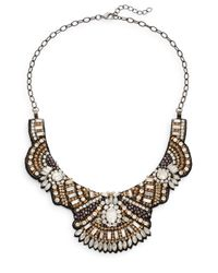 Deepa Gurnani | Multicolor Austrian Crystal & Suede Bib Necklace | Lyst