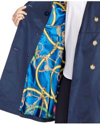 Lauren by Ralph Lauren | Blue Petite Double-Breasted Skirted Trench Coat | Lyst
