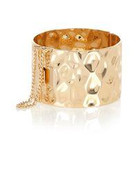 River Island | Metallic Gold Tone Hammered Cuff Bracelet | Lyst