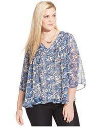Jessica Simpson | Blue Plus Size Floral-print Chiffon Peasant Blouse | Lyst