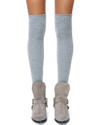 Nasty Gal | Gray Cloudy Skies Thigh High Socks | Lyst