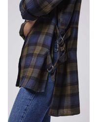 TOPSHOP - Blue Checkered Shirt - Lyst