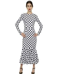 Dolce & Gabbana - White Polka Dot Printed Silk Charmeuse Dress - Lyst