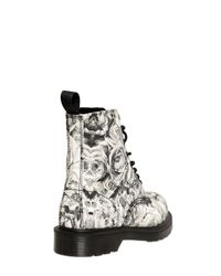 Dr. Martens - Black 30mm Skull Roses Printed Canvas Boots for Men - Lyst