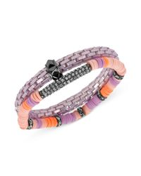 Steve Madden - Hematitetone Purple Stretch Bracelet Set - Lyst