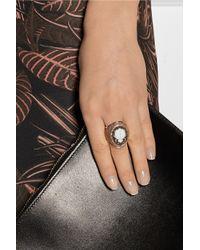 Amedeo - Pink Rose Goldplated Sardonyx Shell and Diamond Ladybug Cameo Ring - Lyst