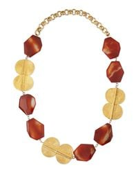 Devon Leigh - Red Carnelian Gold-plated Medallion Necklace - Lyst