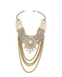 Laura Cantu | Metallic Large Drop Rhinestone Necklace - Clear/Brass | Lyst